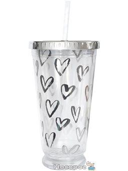 "Тамблер-стакан YES с подсветкой ""Hearts"", 490мл, фольга , с трубочкой [YT-5-490-shine]"