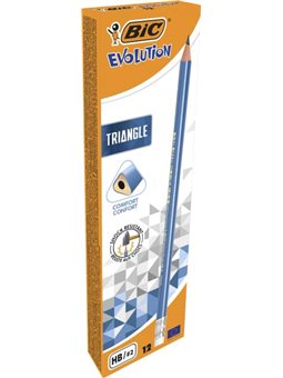 Набор карандашей чернографитных трехгранных BIC Evolution Triangle HB с ластиком 12 шт (964849)