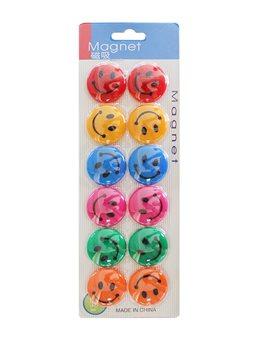 Магниты для доски девятьсот двадцать одна тысяча четыреста шестьдесят девять Смайлик12 шт / уп 6 цветов, 6012, Имп (100)
