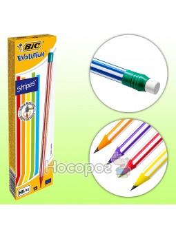 Набор карандашей чернографитных шестигранных BIC Evolution Stripes HB с ластиком 12 шт (8960342) (3086123278189)