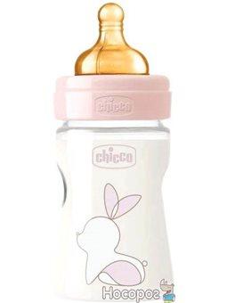 Бутылочка для кормления пластиковая Chicco Original Touch с латексной соской 0м+ 150 мл Розовая (27610.10)