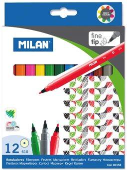 """80158 Набор фломастеров тонк. ТМ """"MILAN"""" 12цв. D2mm, вент.колп."""