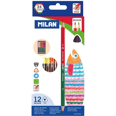 """Фото 07112312 Набор двухцветных каранд.треуг. ТМ """"MILAN"""" 12шт. 24цв., D2,9mm"""