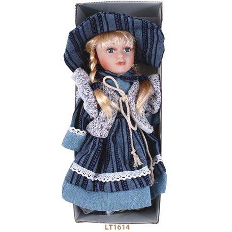 Фото Лялька керамічна h = 30 см, одяг у стилі кантрі, у подарунковій коробці LT1614