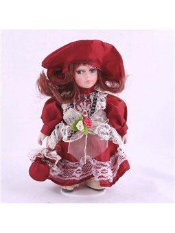 Кукла керамическая стоячая h 20см, платье бордо в викторианском стиле, в подарочной коробке HD12B948A