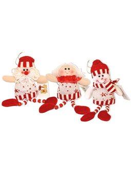 Подвеска - Елочное украшение, ассорти: Дед Мороз, ангел, снеговик h 19см, вириб для новогодних праздников NC12-692 / 1.2A.3
