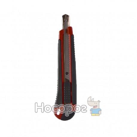 Нож канцелярский 4Office 4-347 9мм, автофикс., метал.напр., прорезин. (04050180)