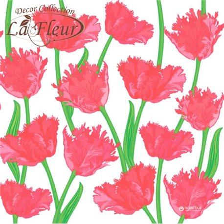 Фото Салфетки столовые La Fleur двухслойные 33х33 cм 20 шт Кудрявые тюльпаны (4820164965320)