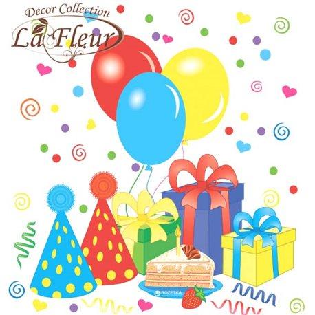 Фото Салфетки столовые La Fleur двухслойные 33х33 cм 20 шт Яркая вечеринка (4820164964712)