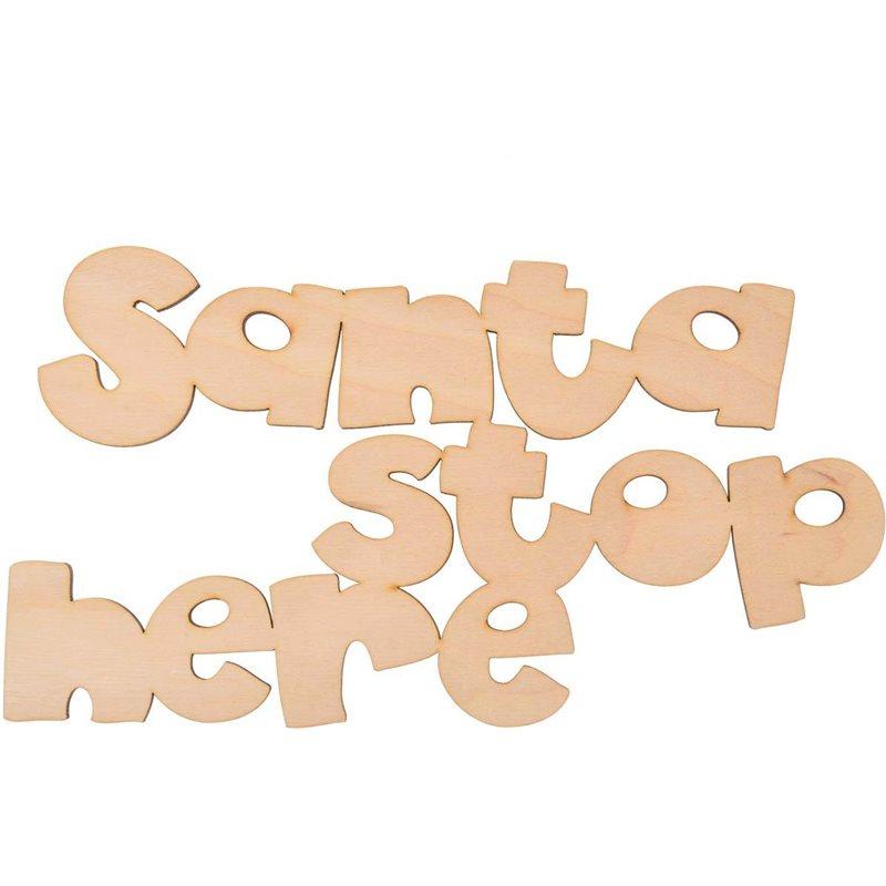 "Фото Надпись Yes! Fun из фанеры 0.4 ""Santa stop here"", 30*16.5 см (742455) [4820077424556]"