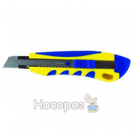 Нож канцелярский BuroMax 18мм мет. вставки,пласт. корпус с рез. вставками 4618