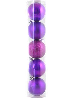 Шар Yes! Fun d - 6 см, 5 шт./уп., фиолетовый светлый: перламутровый - 2, матовый - 2, глит (973182) [5056137142156]
