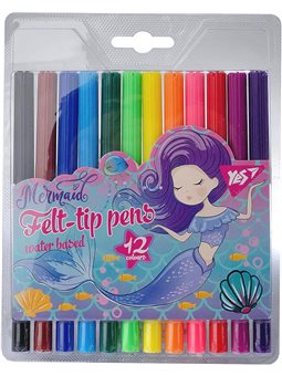 """Фломастеры YES 12 цветов """"Mermaid"""" (650396) [5056137157648]"""