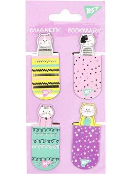 """Закладки магнитные YES """"City cats"""", высечка и фольга, 4шт (706998) [5056137159086]"""