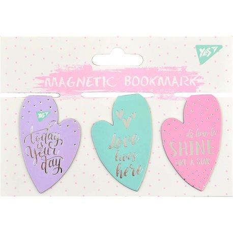 """Закладки магнитные YES """"Hearts"""", фольга, 3шт (706993) [5056137159031]"""