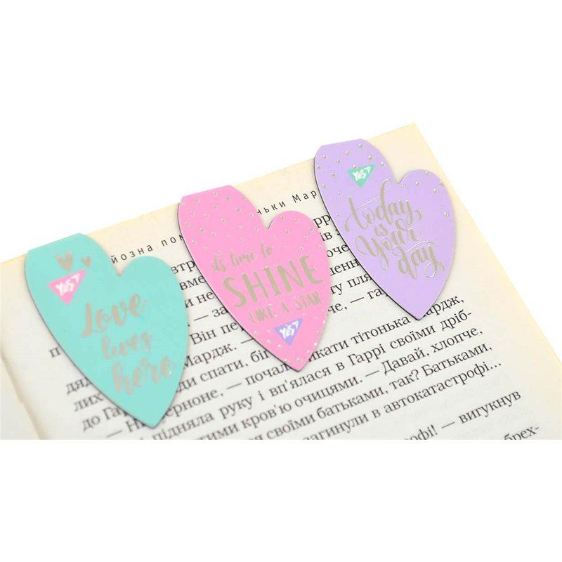 """Фото Закладки магнитные YES """"Hearts"""", фольга, 3шт (706993) [5056137159031]"""