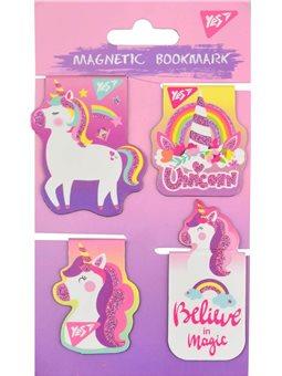 """Закладки магнитные YES """"Unicorn"""", высечка и глиттер, 4шт (706996) [5056137159062]"""