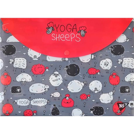 "Папка-конверт YES на кнопке А4 ""Yoga sheeps"" (491638) [5056137198221]"