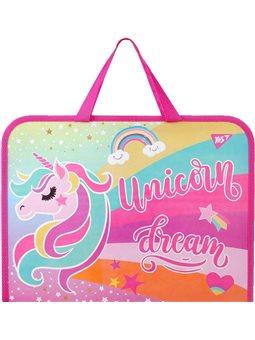 """Папка-портфель YES на молнии с тканевыми ручками """"Unicorn"""" (491820) [5056137184804]"""