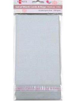 Набор серебристых перламутровых заготовок для открыток, 10см*20см, 250г/м2, 5шт. (952258) [5009079522586]