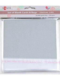 Набор серебристых перламутровых заготовок для открыток, 15см*15см, 250г/м2, 5шт. (952248) [5009079522487]