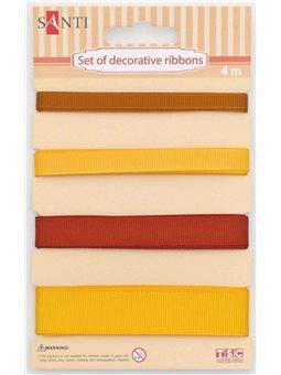 Набор лент декоративных, 7мм, 10мм, 13мм, 20мм, 4м/уп., желтый (952011) [5009079520117]