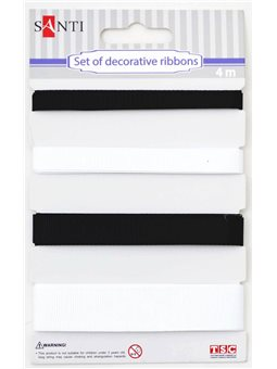 Набор лент декоративных, 7мм, 10мм, 13мм, 20мм, 4м/уп., черно-белый (952006) [5009079520063]