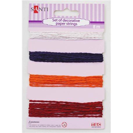 Набор шнуров бумажных декоративных, 4 цвета, 8м/уп., красно-оранжевый (952037) [5009079520377]