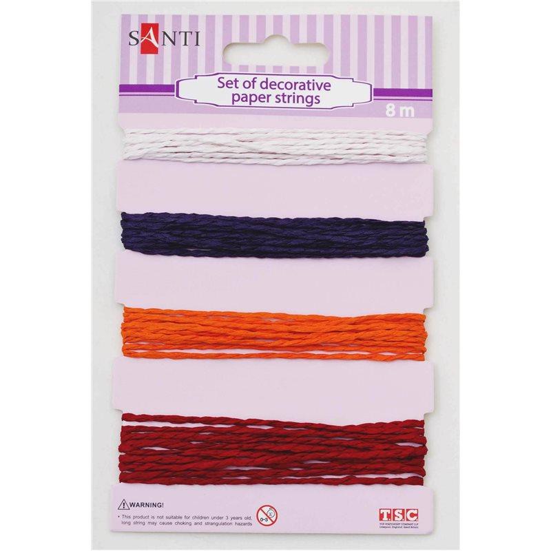 Фото Набор шнуров бумажных декоративных, 4 цвета, 8м/уп., красно-оранжевый (952037) [5009079520377]