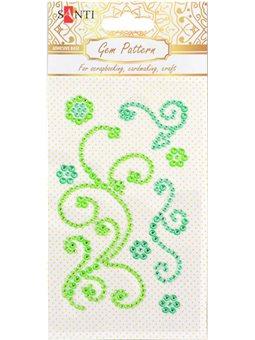 "Узор-аппликация из страз Santi самоклеящаяся ""Fine swirls"", цвет зеленый, 10 х 6 см. (742518) [5056137186570]"