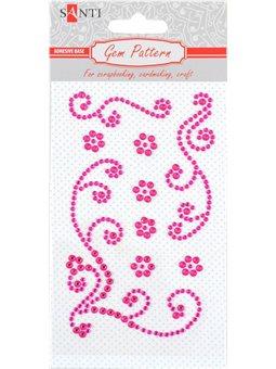 "Узор-аппликация из страз Santi самоклеящаяся ""Shining pattern"", цвет розовый, 10 х 6 см. (742514) [5056137186532]"