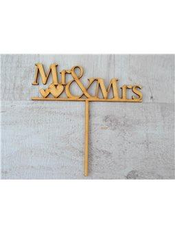 """Фигура из фанеры 0.4 """"Надпись для торта """"Mr & Mrs"""", 17*17см. (741541) [4820077415417]"""
