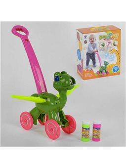 """Каталка с мыльными пузырями """"Динозавр"""" FH 880 (24) мелодии, звуки динозавра, подсветка, в коробке [6974164190218]"""