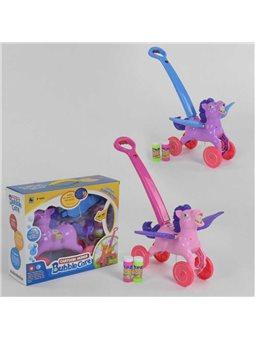 """Каталка с мыльными пузырями """"Лошадка"""" FH 888 (18) 2 цвета, мелодии, подсветка, в коробке [6974164240159]"""