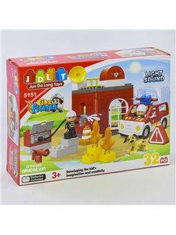 Конструктор JDLT 5151 (24/2) Пожарная станция, 32 детали, 2 фигурки, свет, звук, в коробке [6968703262269]