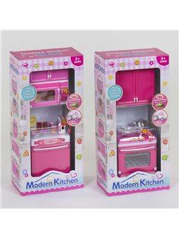 Кухня кукольная QF 26211 PW -1/2/3/4 (60/2) 2 вида, свет, звук, на батарейках, в коробке [6975046356647]