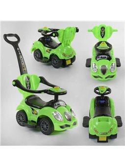 Машина-толокар JOY 09-405 G (1) цвет ЗЕЛЕНЫЙ, родительская ручка, 5 мелодий, съемный защитный бампер, багажник [6989173360095]