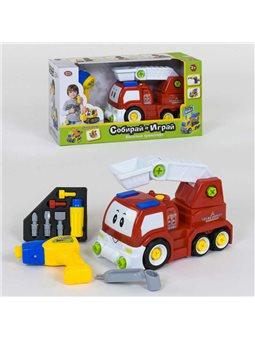 Пожарная машина-конструктор 1983 (12) Play Smart, ездит от блока питания, дрель на батарейках, в коробке [6965160260432]