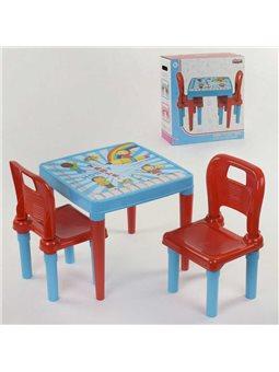 Стол с двумя стульчиками Pilsan 03-414 (4) ЦВЕТ ГОЛУБОЙ [8693461034145]