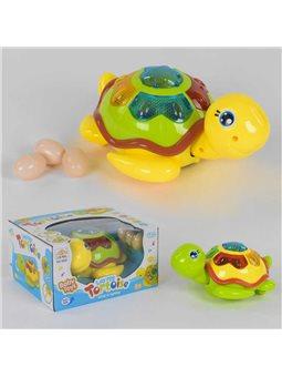 Черепаха музыкальная 0606 (48/2) 2 вида, подсветка, ездит, откладывает яйца, на батарейке, в коробке [6990279040026]