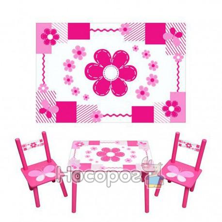 Дитячий столик М 0730 біло-рожевий, 2 стільчика, дерев. (5)