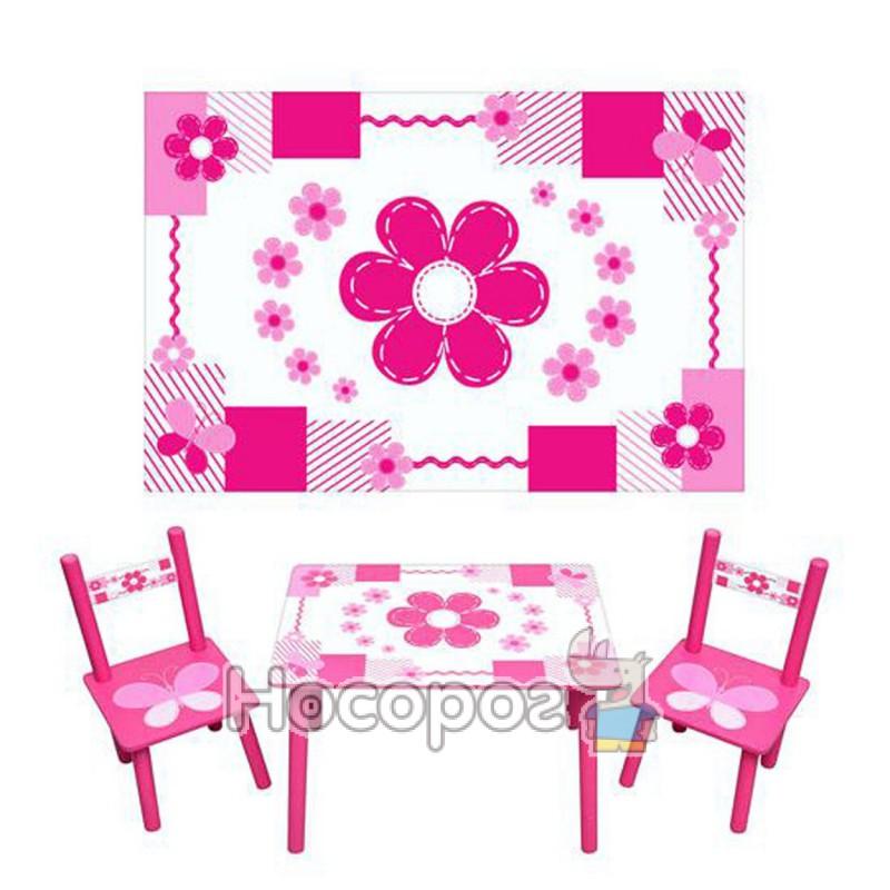 Фото Дитячий столик М 0730 біло-рожевий, 2 стільчика, дерев. (5)