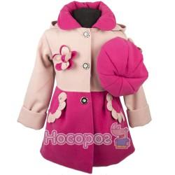 Пальто кашемировое двухцветное с беретом для девочек