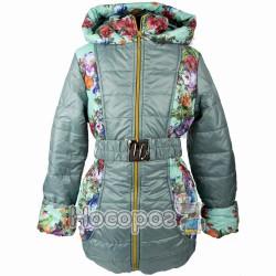 Куртка однотонна №2 с поясом и цветами для девочек