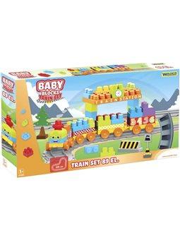 Конструктор Wader Baby Blocks Train Set Мои первые кубики Железная дорога 335 см 89 элементов (41480) (5900694414808)