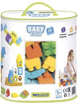 Конструктор Wader Baby Blocks Мои первые кубики 30 элементов в сумке (41400)