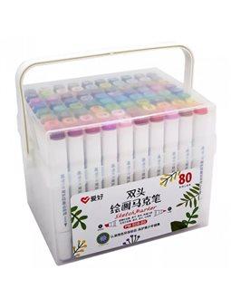 Набор скетч-маркеров Aihao 80 цветов (PM-508-80)