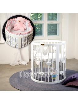 Кроватка SMART BED ROUND 72/120 с сердечками белая 1349003