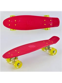 Скейт Пенни борд 0220 (8) Best Board, КРАСНЫЙ, доска55см, колёса PU со светом, диаметр 6см