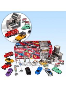 Игровой набор Majorette Мега Бокс с 20 м клейкой дороги, 10 машинами, дорожными знаками